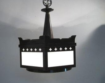 Vintage Chandelier Cathedral Lighting 50s 60s Gothic Architectural Light Fixture