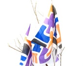 Silk scarf handpainted. retro. Silk shawl . gift for her. 180x45cm. blue, orangen lilac and black