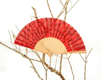 Silk hand fan handpainted red. gift wedding- bridesmaid. personalized gift. spanish hand fan. birthday gift. summer