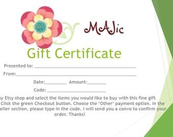 Gift Certificate to MAJic Wood Working Shop