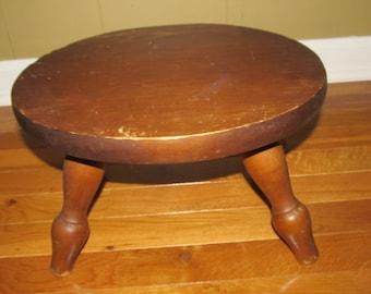 Vintage wooden stool, wood foot stool, plant stand, kids furniture, step stool, splayed leg stool