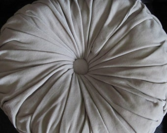 Vintage Round Mid century beige / gray pleated soft cotton pillow - 16 inch round - made in India