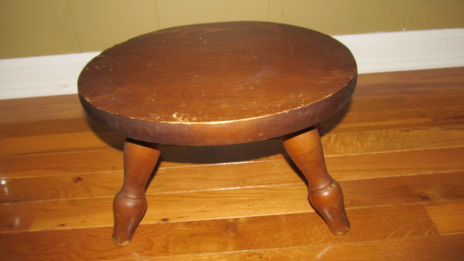 Wood Foot Stool ~ Vintage wooden stool wood foot plant stand kids