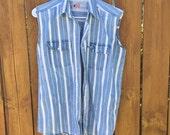 Lightweight Denim Striped Button-Up Sleeveless Top
