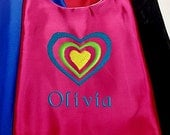 Super Hero Cape,  Embroidered Heart Design Personalized with Name Hot Pink