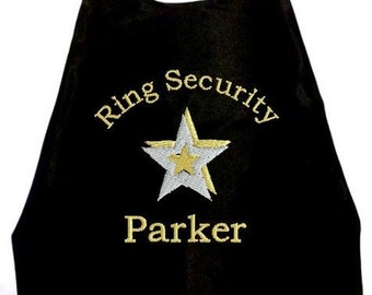 Boy's Super Hero Ring Security Cape,  Embroidered Ring Bearer Cape Personalized Wedding Photo Op