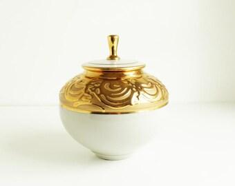 Ken Turner Pottery Studio Ceramic Gold and White Ginger Jar