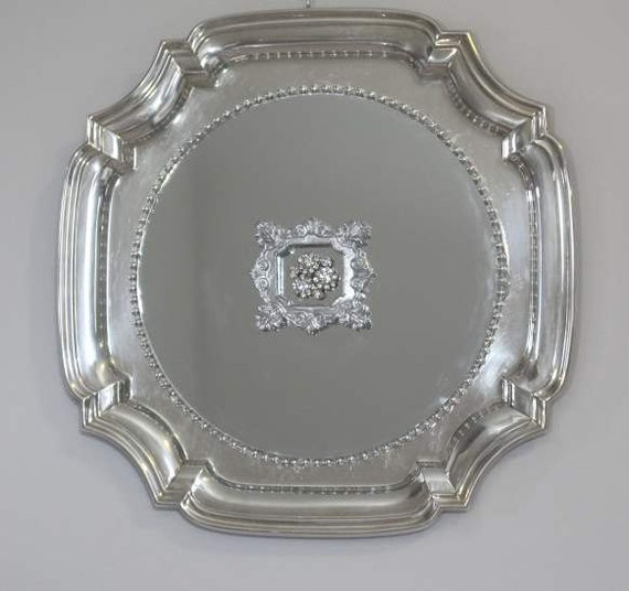 Notched Corner  Fancy  Silverplated  Mirrored  Tray/ Wall Decor