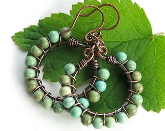 Turquoise hoop earrings - green stone beads - copper wire wrapped