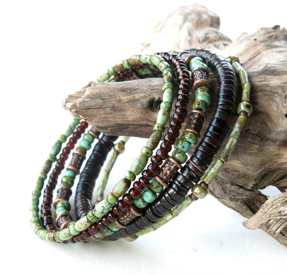 Stacked bead bracelets - Earthy green turquoise stone, brown shell ...