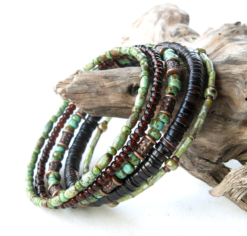 stacked bead bracelets earthy green turquoise brown