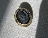 Antique BLACK MOURNING CAMEO Pin Vintage Oval Cameo Brooch w Rhinestones Victorian/Edwardian Era Mourning Jewelry Gift