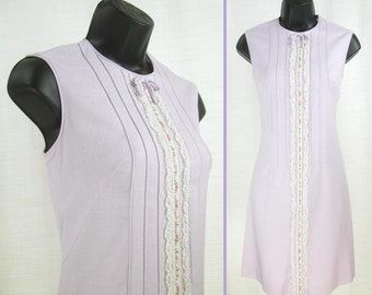 Vintage 60's - 70's MOD Orchid A-line Shift ~GAY GIBSON~ Sleeveless Mini Dress  S