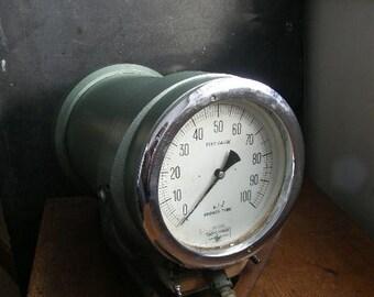 Funky Huge test gauge,steam punk, dial gauge , looks amazing,original wood case ,free uk postage
