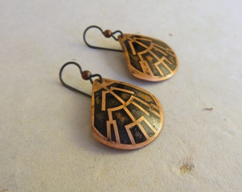 SALE:  Abstract phylogenetic trees, copper earrings, steampunk earrings, abstract copper earrings (Style no. E18)