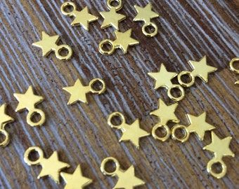 Gold Tibetan Style Charm Pendant Lot 20 pcs Star Design