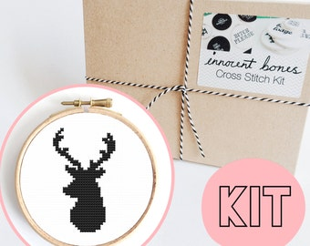Stag Head Pattern Modern Cross Stitch Kit - easy chart design - DIY embroidery kit gift - xstitch for beginners gift stag head deer