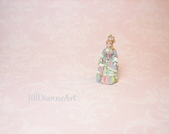 "Ready Send Victorian Doll figure hand-painted Just under 1""- 144th scale Doll's doll add sculpted roses- Jill Dianne Dollhouse Miniatures"