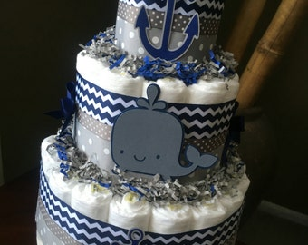Navy and Grey Diaper Cake, Baby Shower Centerpiece, New Baby Gift, Decorations, Nautical Baby Shower, Diaper Cake for Boy, Ahoy It's a Boy