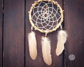 Dream Catcher - Bohemian Wreath - With Boho Floral Wreath Frame and Light Peach Feathers - Nursery Mobile, Boho Home Decor, Decoration