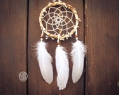 Dream Catcher - Hippie Wreath - With Boho Floral Wreath Frame and White Feathers - Nursery Mobile, Boho Home Decor, Decoration