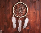 Dream Catcher - Magical Morning - With Natural White Web, Rose Feathers and Raw Wooden Frame - Boho Home Decor, Nursery Mobile
