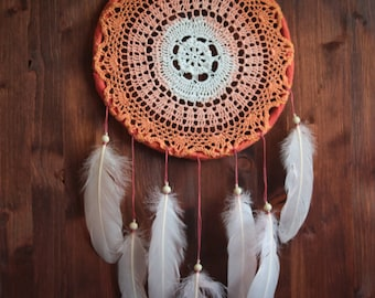 Dream Catcher - Magical Summer - Unique Dream Catcher with Transitional Handmade Crochet Web and Rose Feathers