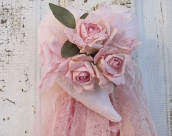 Pink puffy heart wall decor handmade large shabby cottage chic paper mache handmade roses tattered fabric home decor anita spero design