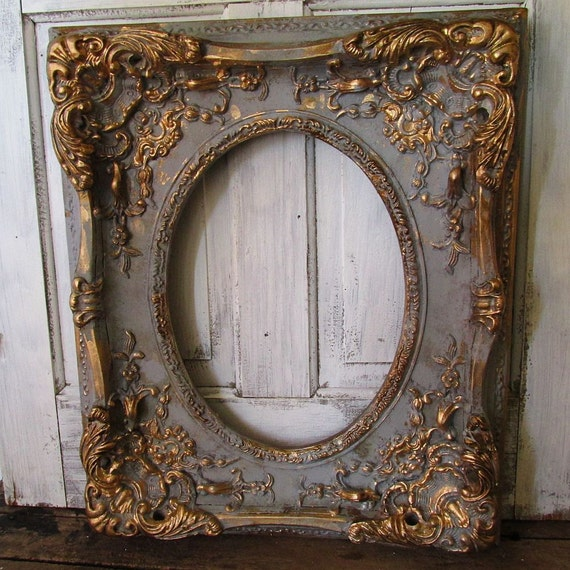 Large ornate picture frame wood w gesso antique french for Antique look mirrors cheap