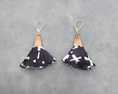 Leather and fabric earrings for women in copper and black