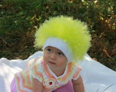 Baby hats / Cabbage Patch Kids Hat  / Beanie Wig  / Children  fuzzy hat  / Baby costume / Halloween Costume / Neon yellow / dandelion
