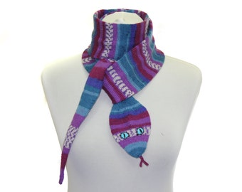 Snake Scarf /  Hand Knit Scarf / Lilac  blue  / animal scarf / halloween
