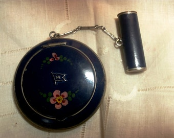 R & G Co Blue Enamel Powder Compact With Attached Chained Lipstick Case