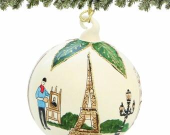 Handmade Glass Paris Christmas Ornament French Landmarks - Made in Europe