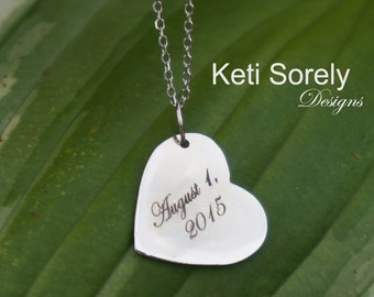 10K, 14K, 18K Solid Gold Personalized Heart Initial Charm - Engrave Name, Date, Inspirational Word - Engrave on Front or Back