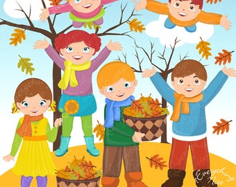 Image result for fall children playing cartoon