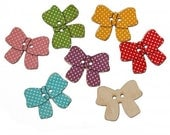 Bow Knot Wooden Buttons 30 x 23mm