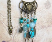 Turquoise Gypsy Necklace / Bohemian Long Necklace / Boho Necklace with stone
