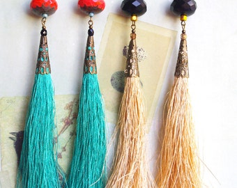 Extra long tassel earrings, tassel jewelry, Fringe earrings, Statement jewelry, Blue or Beige, Gypsy, top selling items, Cocoflower