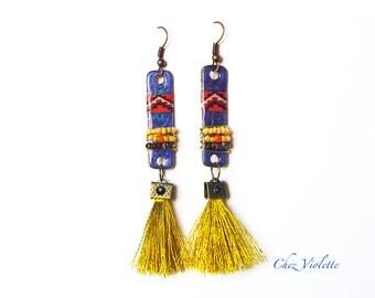 golden tassel fringe earrings - beaded seed bead earring dangle - Blue Gold gypsy bohemian jewelry