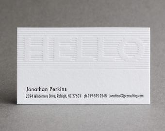 "150 Letterpress Business Cards - ""Hello"""