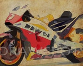 2015 HONDA RC213V, 12x8.50 in to 60x42 in. Original Art, Original gift for bikers, Vintage background, almost abstract bike, black back