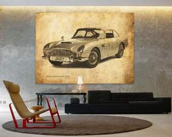 Aston Martin DB5 1965 Classic Car Poster, Vintage Background Line Art Print, Art Print 10x14in and larger sizes, Motorcycle print