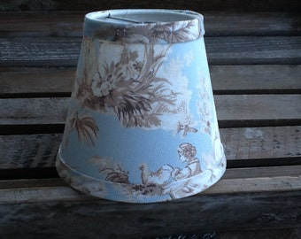 Chandelier lampshade Powder blue and tan toile French toile shade wall sconce