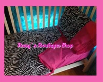Pink zebra 3pc toddler bedding set