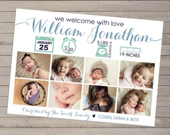 Print-yourself Photo Boy's Birth Announcement - or Girl, Multiple Photo -Eight Photo
