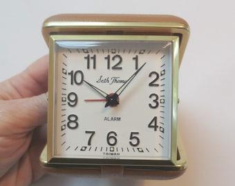 Vintage Seth Thomas Travel Clock, Made in  Taiwan, Retro, Works Fine