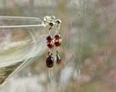 Age of Aquarius ~ Delicate Gemstone Dangle Earrings - Garnet, Stainless Steel, Capricorn, pomegranate