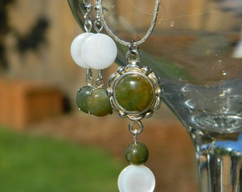 Land and Sea ~ Jewelry set, Green Jasper, Mother of Pearl, Seashell, Gemstone, Silver, Necklace, Earrings
