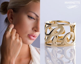 Initial ring - Gold name ring - custom ring - Monogram ring cuff in 14K gold